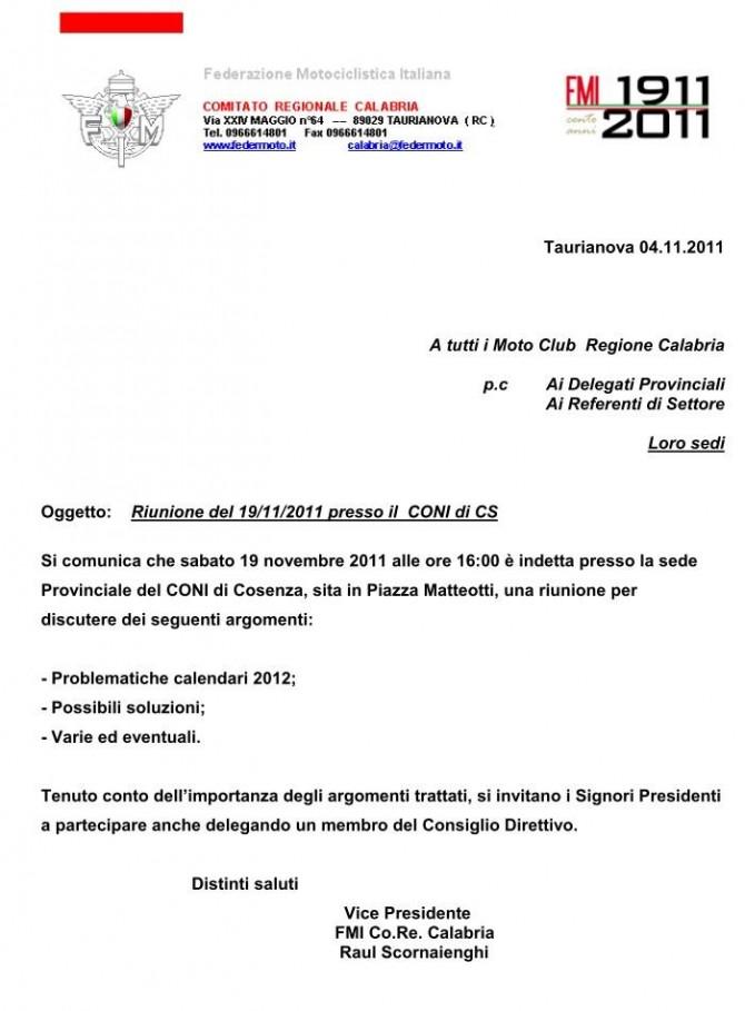 2011 Riunione del 19-11-2011 Cosenza