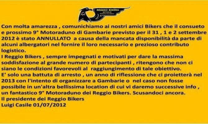 2012 reggiobikers annullato