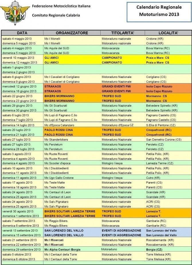 2013 calendario turismo calabria