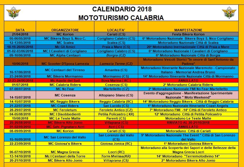 Calendario Concerti Calabria.2018 Bozza Calendario Mototurismo Calabria Fmi Comitato