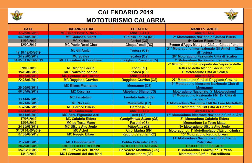 Calendario Concerti Calabria.2019 Calendario Mototurismo Calabria Fmi Comitato