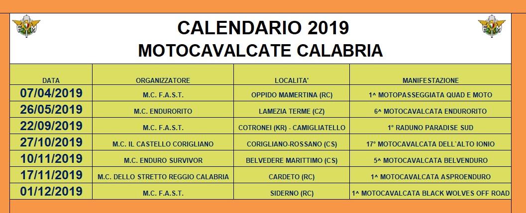2019 CALENDARIO MOTOCAVALCATE CALABRIA   Fmi Comitato Regionale